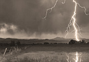 Lightning Bolts Posters - Lightning Striking Longs Peak Foothills 5BW Sepia Poster by James Bo Insogna