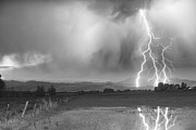 Storm Prints Photo Prints - Lightning Striking Longs Peak Foothills 6BW Print by James Bo Insogna