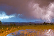 Storm Prints Photo Prints - Lightning Striking Longs Peak Foothills 7 Print by James Bo Insogna