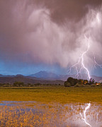 Rocky Mountains Prints - Lightning Striking Longs Peak Foothills 7C Print by James Bo Insogna