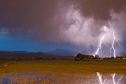Lightning Strike Posters - Lightning Striking Longs Peak Foothills 8 Poster by James Bo Insogna