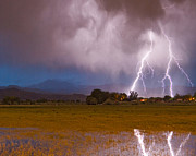 Lightning Photography Framed Prints - Lightning Striking Longs Peak Foothills 8C Framed Print by James Bo Insogna