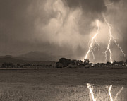 Lightning Photography Framed Prints - Lightning Striking Longs Peak Foothills 8C Sepia Framed Print by James Bo Insogna