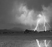 Storm Prints Photo Prints - Lightning Striking Longs Peak Foothills 8CBW Print by James Bo Insogna