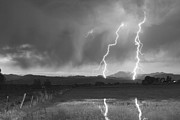Storm Prints Framed Prints - Lightning Striking Longs Peak Foothills BW Framed Print by James Bo Insogna