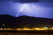 Storms Posters - Lightning Striking Over IBM Boulder CO 1 Poster by James Bo Insogna