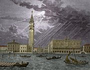Benjamin Franklin Prints - Lightning Striking St, Marks Tower 1745 Print by Sheila Terry