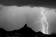 Rain Storms Framed Prints - Lightning Thunderstorm at Pinnacle Peak BW Framed Print by James Bo Insogna