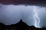 Monsoon Framed Prints - Lightning Thunderstorm at Pinnacle Peak Framed Print by James Bo Insogna