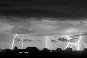 Lightning Bolt Pictures Prints - Lightning Thunderstorm July 12 2011 Strikes over the City BW Print by James Bo Insogna
