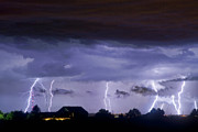 Bouldercounty Prints - Lightning Thunderstorm July 12 2011 Strikes over the City Print by James Bo Insogna