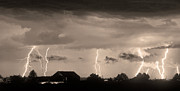 Unusual Lightning Posters - Lightning Thunderstorm July 12 2011 Strikes over the City Sepia Poster by James Bo Insogna