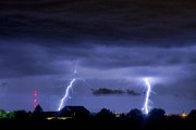 Lightning Bolt Pictures Prints - Lightning Thunderstorm July 12 2011 Two Strikes over the City Print by James Bo Insogna