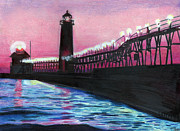 Pier Drawings - Lights by Ian Tullock