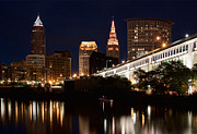 Cleveland Metal Prints - Lights In Cleveland Ohio Metal Print by Dale Kincaid