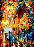 Afremov Framed Prints - Lights In The Night Framed Print by Leonid Afremov