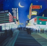 Boardwalk Paintings - Lights of AC by Suzn Smith