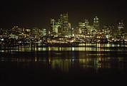 Lights Of Downtown Seattle Reflect Print by Gordon Wiltsie