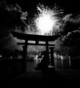 Black And White Religious Art Posters - Lights over Japan Poster by David Lee Thompson