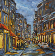 Finding Fine Art Paintings - Lights up after dusk by Richard T Pranke