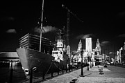 Liverpool Prints - Lightship Docked At Albert Dock In Liverpool City Centre With The New Museum Being Built  Print by Joe Fox