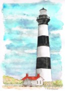 Lighthouses Paintings - Ligthhouse-Bodie-Island-NC by Carlos G Groppa