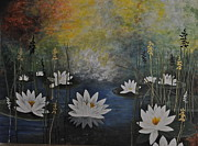 Lilly Pond Paintings - Liilies On The Pond by Diana Ochoa