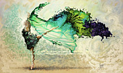 Dancing Painting Framed Prints - Like air I willl raise Framed Print by Karina Llergo Salto