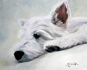 Westie Puppies Posters - Like an Angel Poster by Mary Sparrow Smith