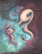 Seahorse Paintings - Like you by  Abril Andrade Griffith