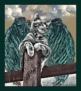 Kitty Digital Art - lil Angels Angel on a Fencepost by Tisha McGee