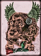 Domestic Pets Mixed Media - Lil Angels Dashound by Tisha McGee