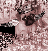 Cute Dogs Digital Art - lil Angels Pug in a hole by Tisha McGee