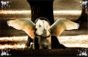 Surrealism Photos - lil Angels Treetrunk Bulldog by Tisha McGee