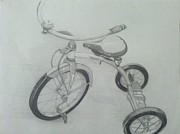 Tricycle Drawings - Lil Bike by Bradley   Howell