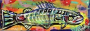 Expressionism Drawings Framed Prints - Lil Funky Folk Fish number ten Framed Print by Robert Wolverton Jr