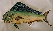 Dolphin Reliefs - Lil Mahi Mahi number 2 wooden fish by Lisa Ruggiero