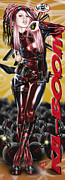 Pete Tapang Drawings Metal Prints - Lil Miss Deadpool Metal Print by Pete Tapang