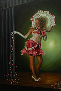 Burlesque Painting Metal Prints - Lil Miss Lixx Metal Print by Kenneth Browne