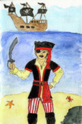 Pirate Ship Posters - Lil Pirate Poster by Maggie McFarland