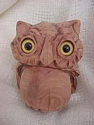 Owl Sculptures - Lil Red-Cedar Owl by Lisa Ruggiero