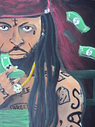 Lil Wayne Portraits Paintings - Lil Wayne Diptych no. 2 by Casey Park