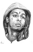 Dwayne Drawings Framed Prints - Lil Wayne Framed Print by Murphy Elliott