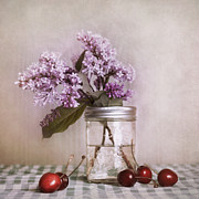Tabletop Photo Framed Prints - Lilac And Cherries Framed Print by Priska Wettstein