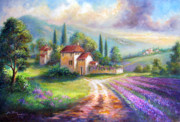 Italian Greeting Card Posters - Lilac Fields Poster by Gina Femrite