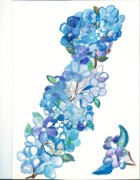 Nature Study Painting Prints - Lilac flowers on branch Print by Heather  Whitney