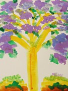 Lavender Drawings - Lilac Lavender Tree by Mary Carol Williams