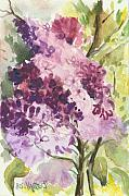 Traditional Art Originals - Lilacs - Note Card by Elisabeta Hermann
