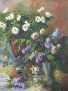 Aster  Painting Framed Prints - Lilacs and asters Framed Print by Tigran Ghulyan