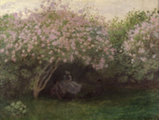 Seated Painting Prints - Lilacs Print by Claude Monet